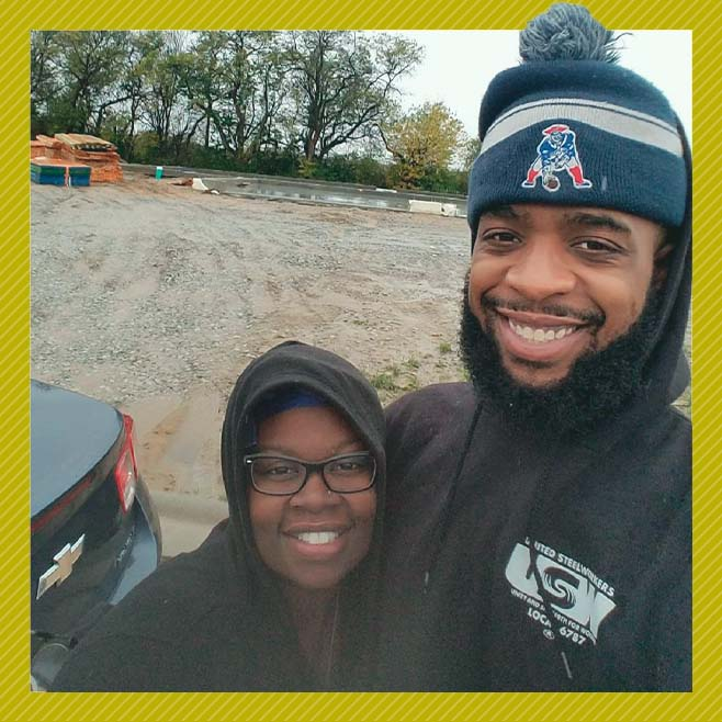 A photo of Destiny Blackmon and her husband